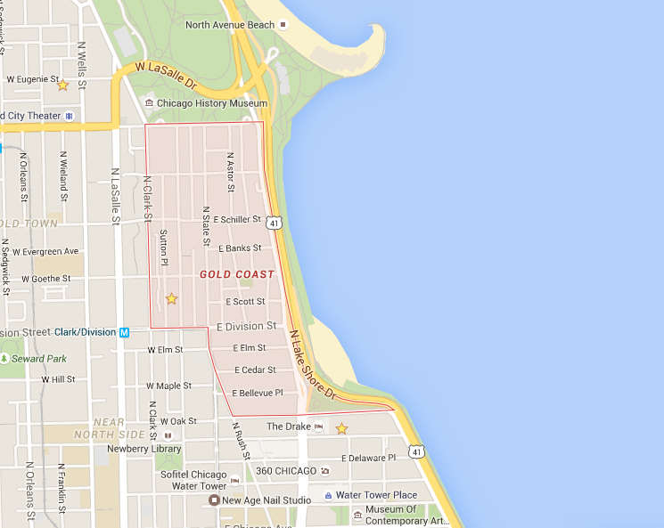 Map of Chicago Gold Coast Neighborhood