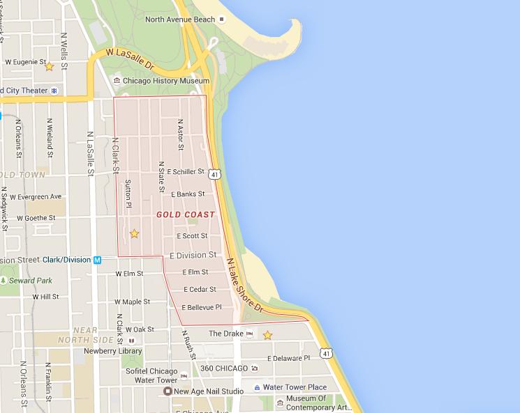 Map of Chicago Gold Coast Neighborhood